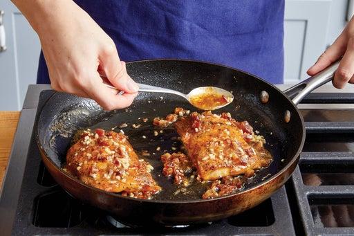 Make the sauce & finish the fish