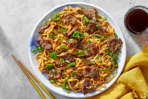 Mongolian Beef & Noodles with Shishito Peppers & Scallions