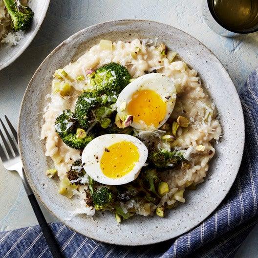 Broccoli Risotto & Soft-Boiled Eggs with Pistachios & Grana Padano Cheese