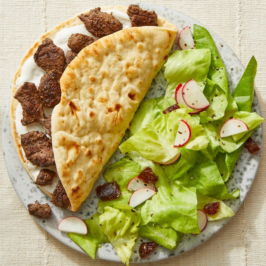 Middle Eastern-Style Beef Pitas with Butter Lettuce & Date Salad