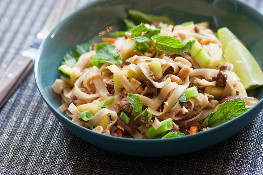 Lamb & Beef Rice Noodles with Mint, Lime & Ponzu
