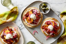 Spiced Chicken & Honeynut Squash Tostadas with Pickled Red Onion