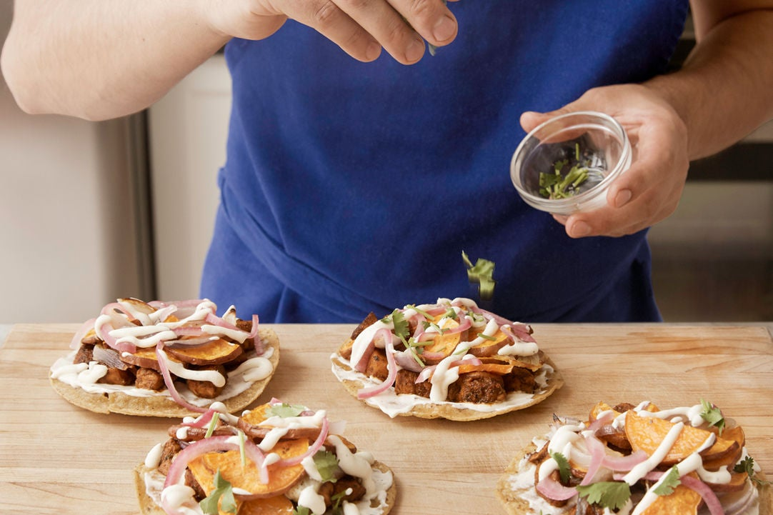Assemble the tostadas & plate your dish:
