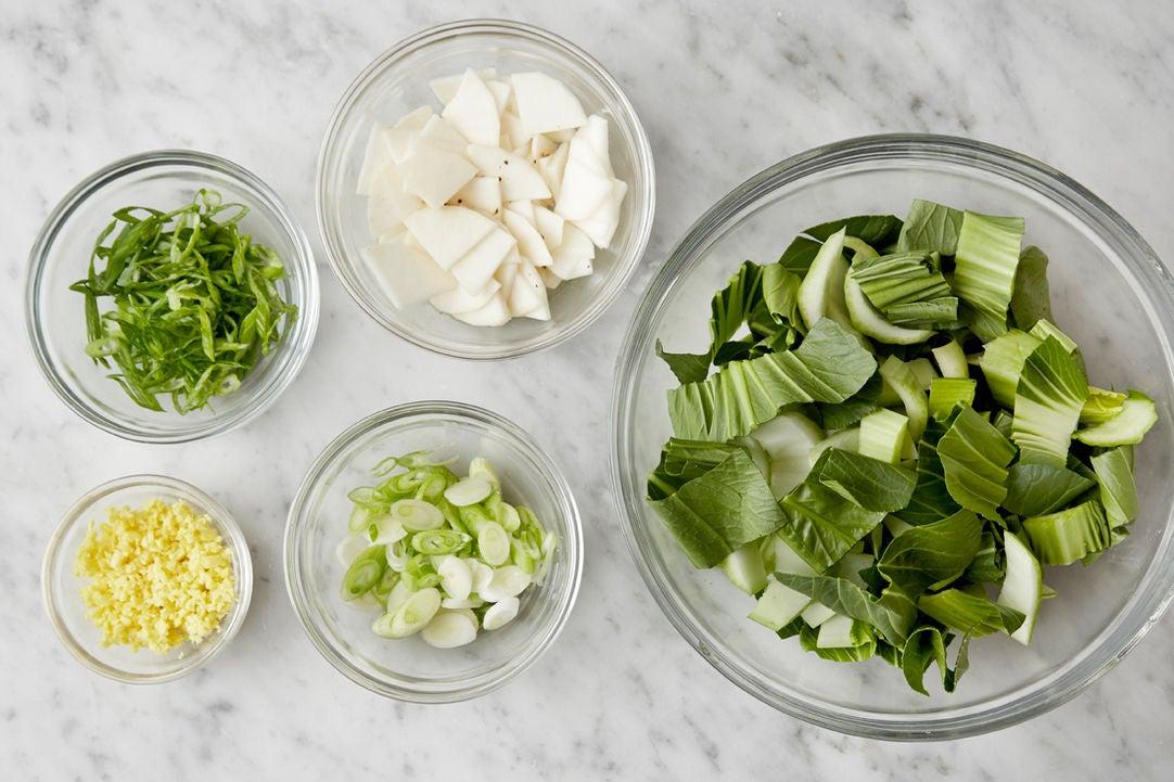 Prepare the ingredients & marinate the turnip: