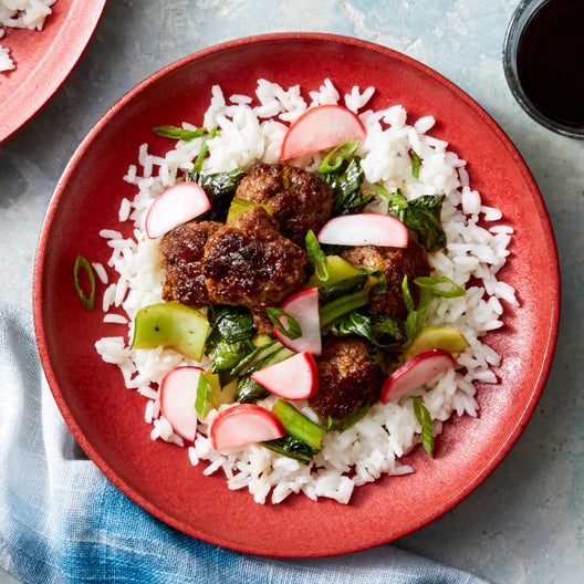 Ginger-Scallion Meatballs & Rice with Bok Choy & Marinated Radishes
