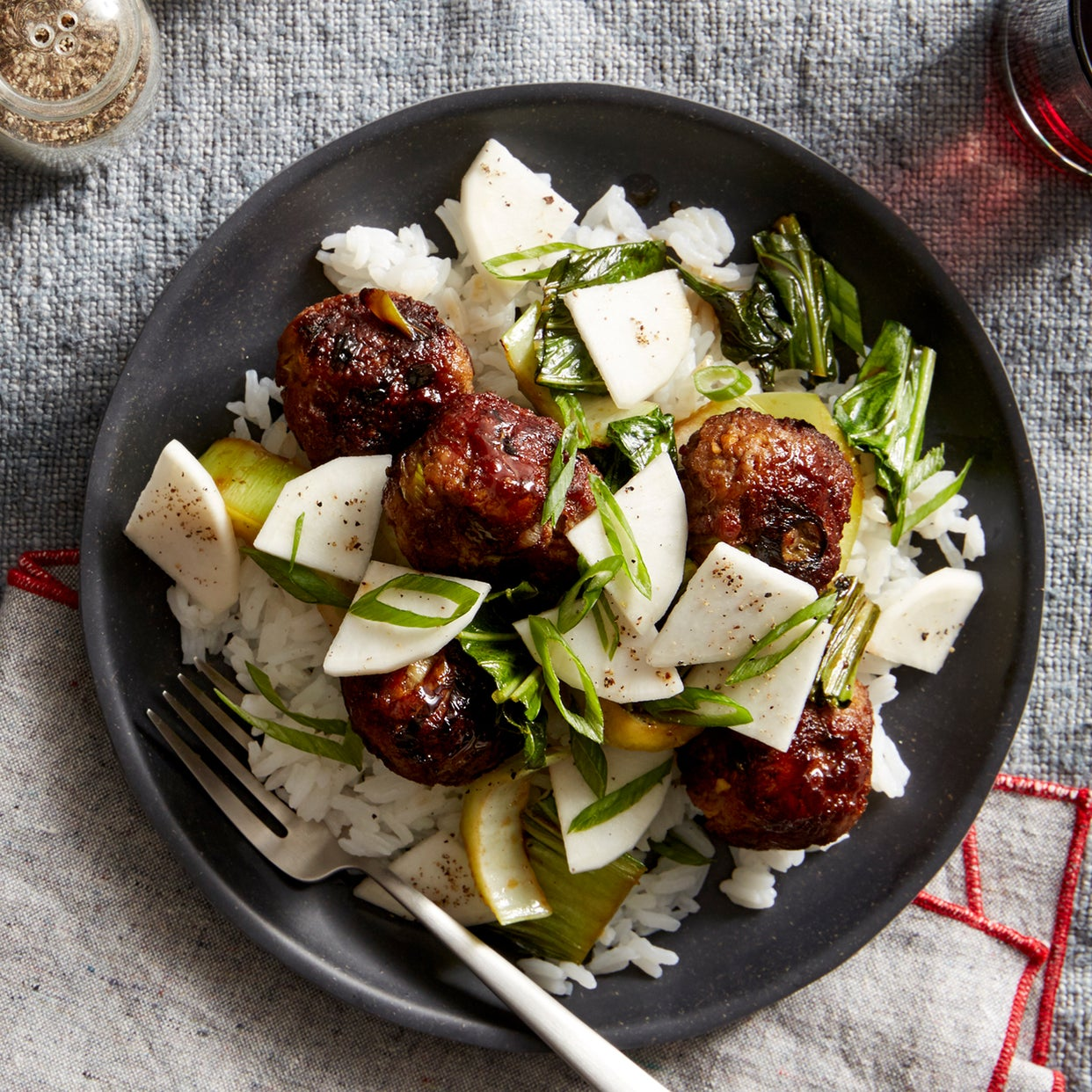Ginger-Scallion Meatballs & Rice with Bok Choy & Marinated Turnip