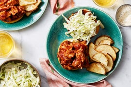 Chopped BBQ Chicken Sandwiches with Roasted Potatoes & Coleslaw