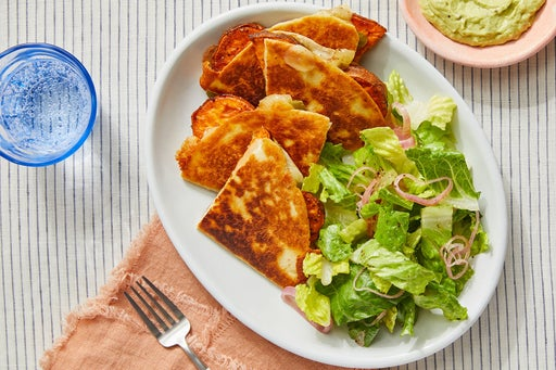 Roasted Sweet Potato Quesadillas with Creamy Guacamole