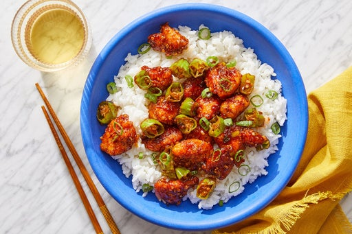 General Tso's Chicken with Rice & Shishito Peppers
