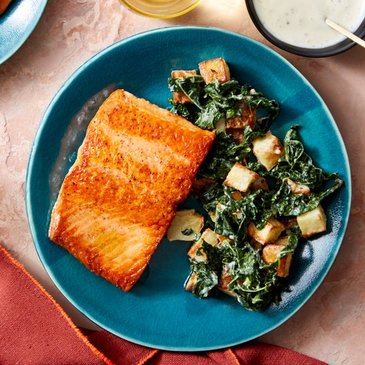 Salmon & Roasted Potato Salad with Kale & Pickled Mustard Seeds