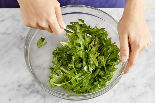 Dress the arugula & serve your dish