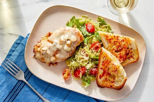 Cheesy Chicken & Pesto Spaghetti Squash with Bread & Red Pepper Butter