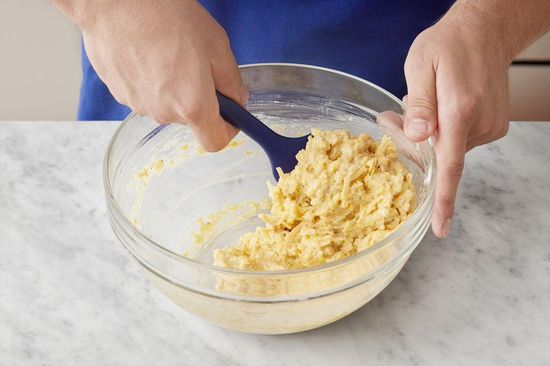 Prepare the biscuit batter: