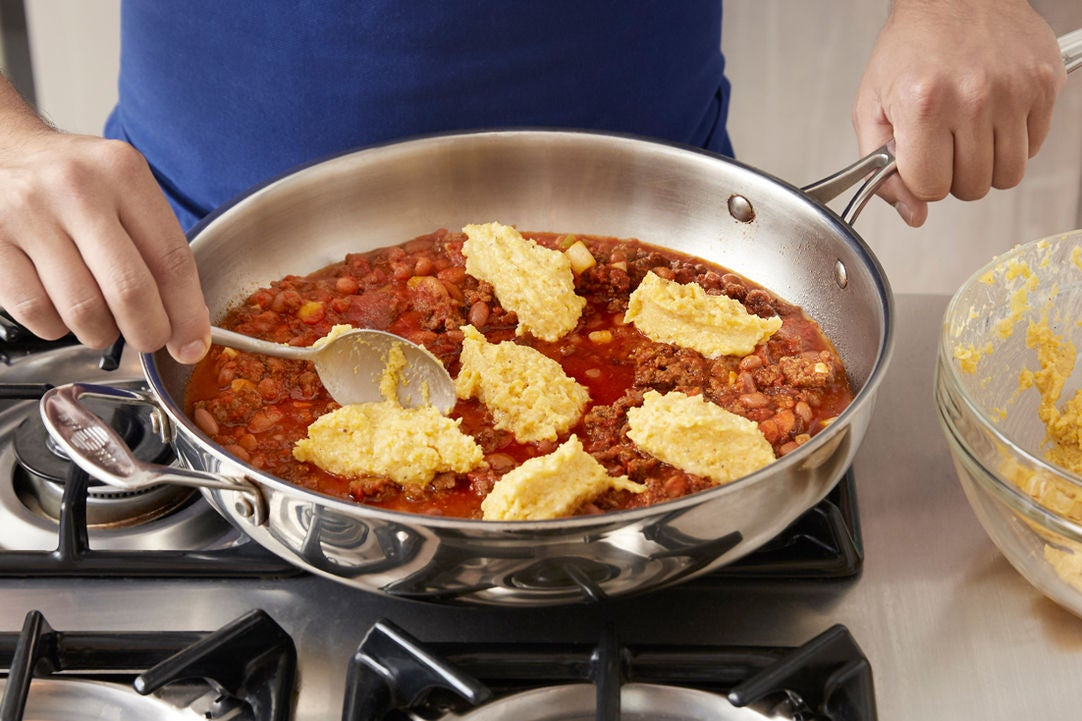 Top & bake the chili: