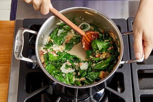 Cook the collard greens & finish the quinoa