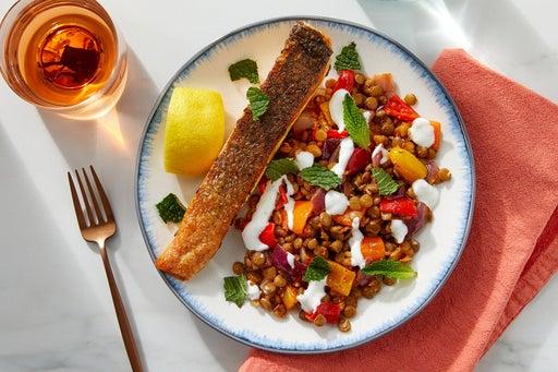 Crispy Skin Salmon & Romesco Lentils with Sweet Peppers & Lemon Yogurt