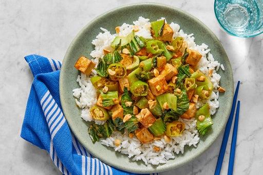 Stir-Fried Tofu & Vegetables with Spicy Sesame-Peanut Sauce