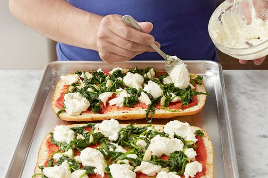 Assemble & bake the pizzas: