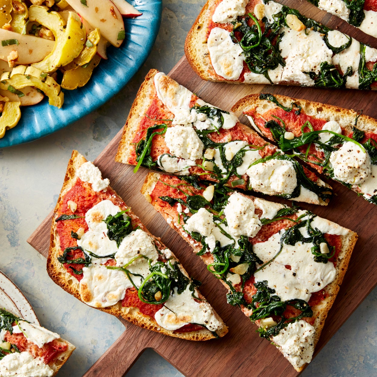 Spinach & Two-Cheese Focaccia Pizzas with Maple-Roasted Squash & Apple Salad