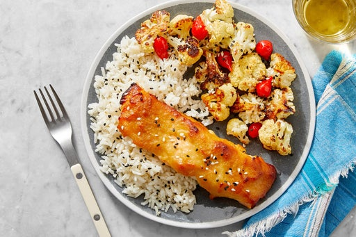 Sheet Pan Miso Salmon with Sesame Rice & Roasted Cauliflower
