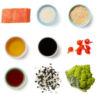 Sheet Pan Miso Salmon with Sesame Rice & Roasted Cauliflower