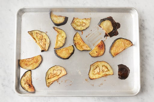 Prepare & roast the eggplant:
