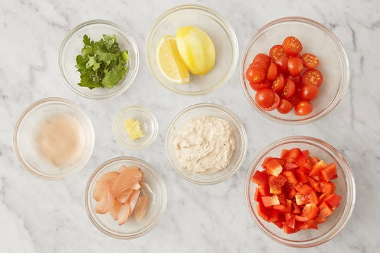 Prepare the remaining ingredients & season the labneh: