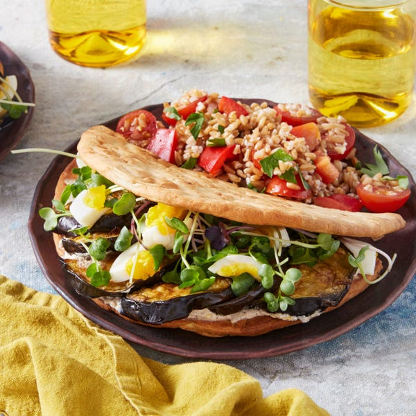 Roasted Eggplant Pitas with Tomato, Bell Pepper, & Farro Salad