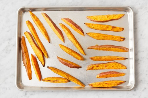 Prepare & roast the sweet potatoes