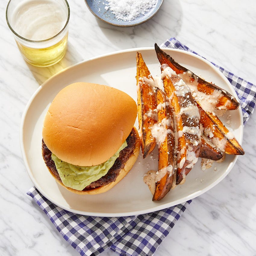 Guacamole Burgers with Elote-Style Sweet Potatoes