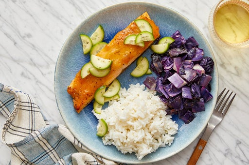 Miso-Maple Salmon with Sesame-Roasted Cabbage & Garlic Rice