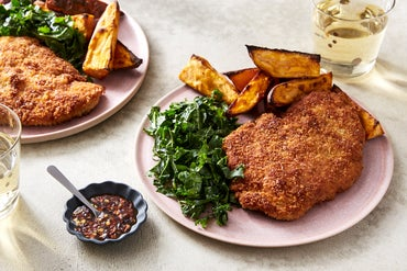 Fried Chicken & Kale Slaw with Roasted Sweet Potato & Hot Honey
