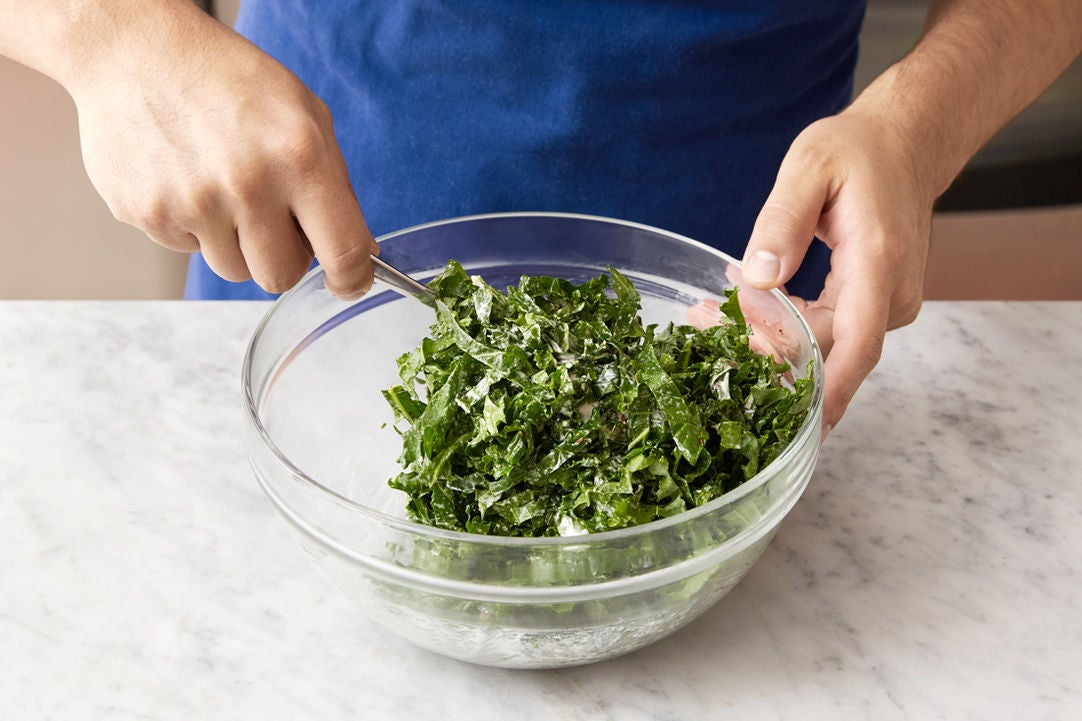 Prepare the kale & make the slaw: