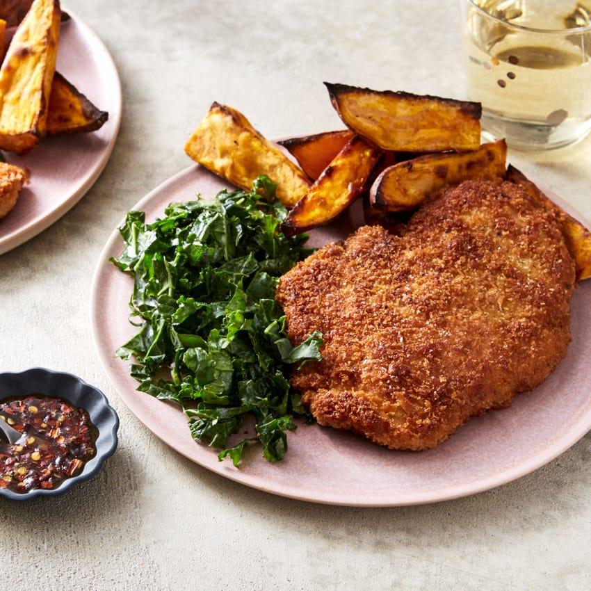 Fried Chicken & Kale Slaw with Roasted Sweet Potato & Hot Honey