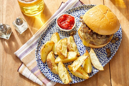 White Cheddar Cheeseburgers with Balsamic-Glazed Onion & Roasted Potatoes