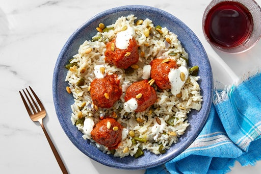 Pork Chorizo Meatballs & Pepper Rice with Chipotle-Peanut Sauce