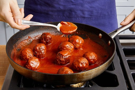 Cook the meatballs & serve your dish