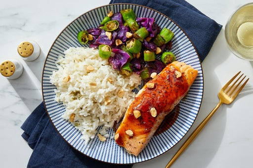 Sweet & Spicy Salmon with Cabbage, Shishito Peppers & White Rice