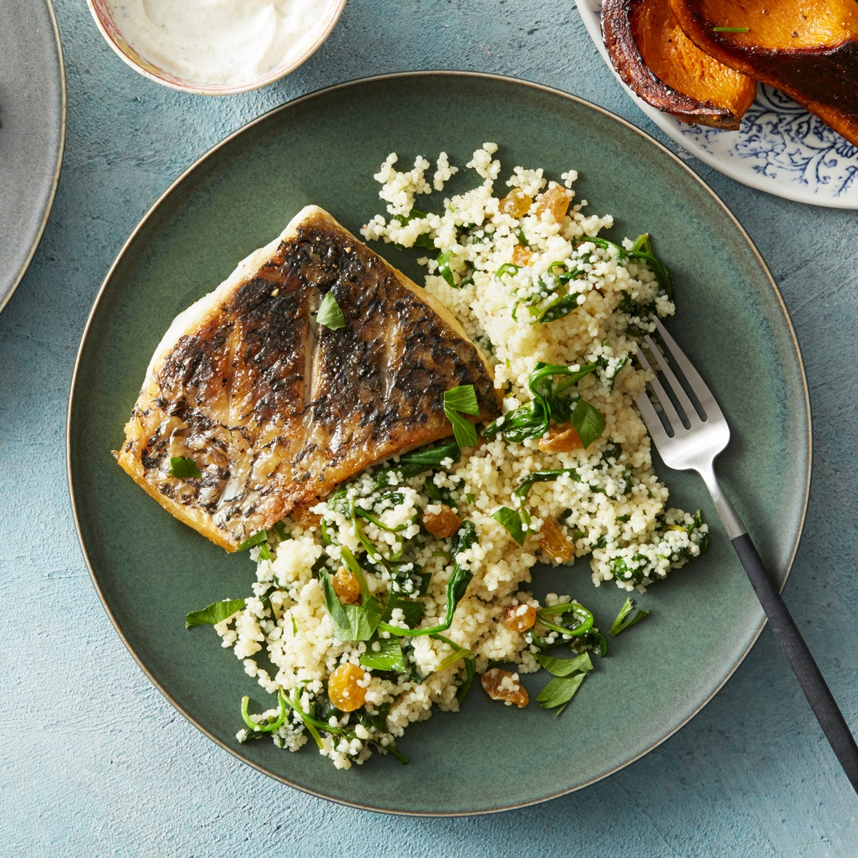 Barramundi & Herbed Couscous with Honeynut Squash & Spiced Labneh