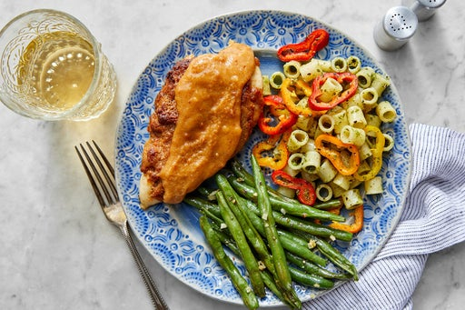 Roasted Peanut Chicken with Cilantro-Dressed Pasta & Garlicky Green Beans