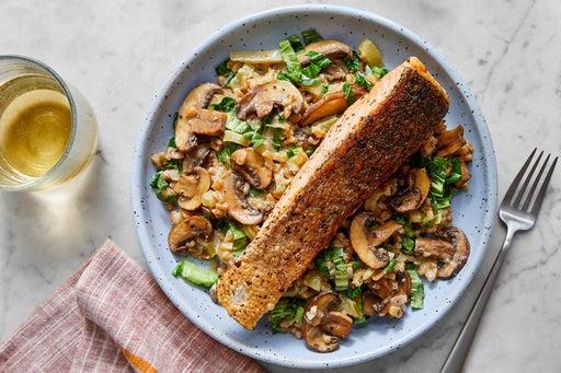 Crispy Skin Salmon with Risotto-Style Farro & Mushrooms