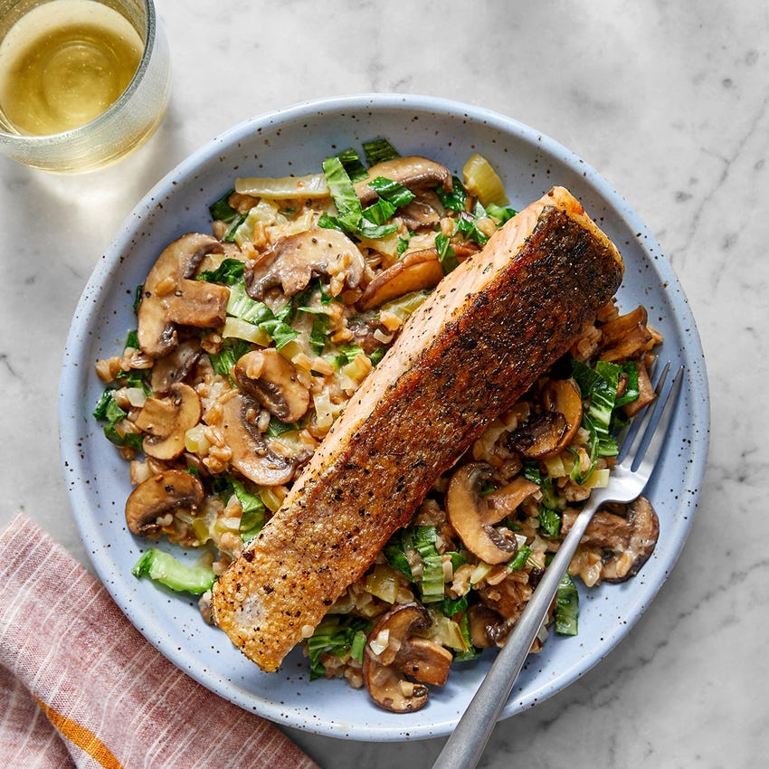 Crispy Skin Salmon with Risotto-Style Farro & Mushrooms