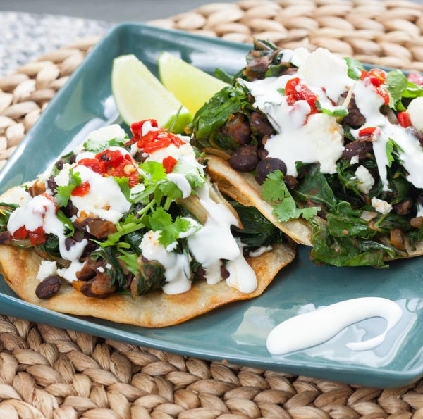 Smoky Swiss Chard & Black Bean Tostadas with Queso Fresco & Roasted Piquillo Peppers