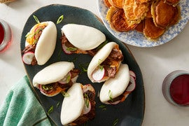 Korean Beef Steam Buns with Sweet Potato Tempura & Spicy Mayonnaise