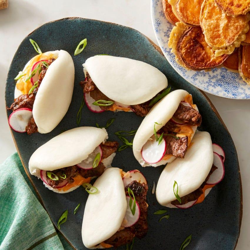 Korean Beef Steam Buns with Sweet Potato Tempura & Spicy Mayonnaise