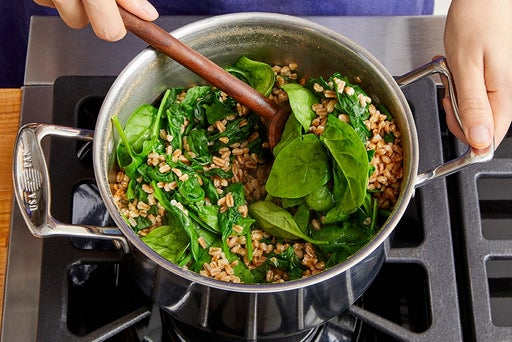 Cook the farro & wilt the spinach
