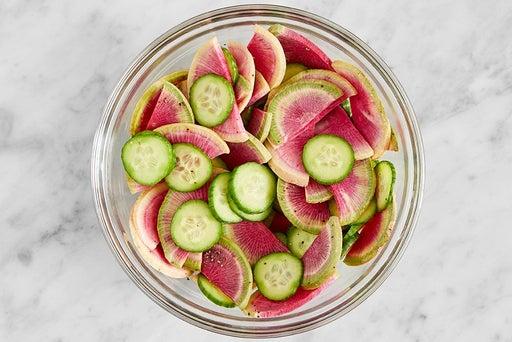 Marinate the cucumbers & radish