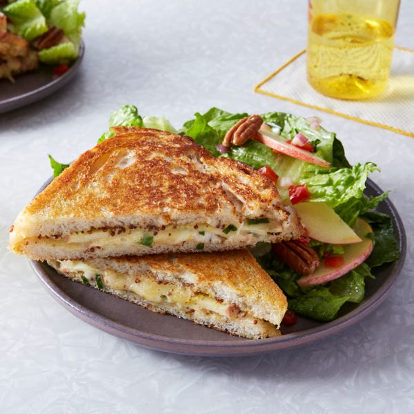 Apple & Dijon Grilled Cheese Sandwiches with Romaine Salad