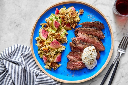 Dukkah-Spiced Steaks & Freekeh with Brussels Sprouts, Figs & Marinated Radish