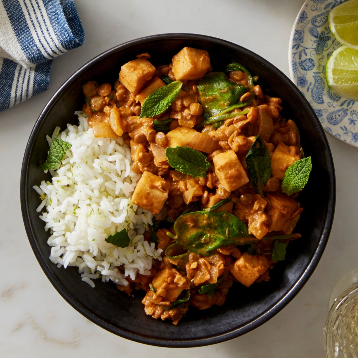 Paneer & Lentil Masala with Spinach & Lime Rice